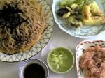 ざる蕎麦+精進揚げ+赤飯