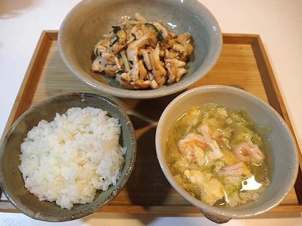 鶏胸肉の和風炒め+エビ汁