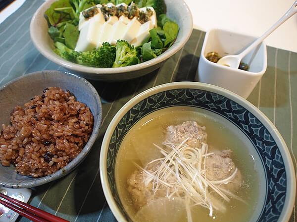 つみれ汁+豆腐サラダ